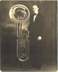 Jack Barnsby with king standing tuba